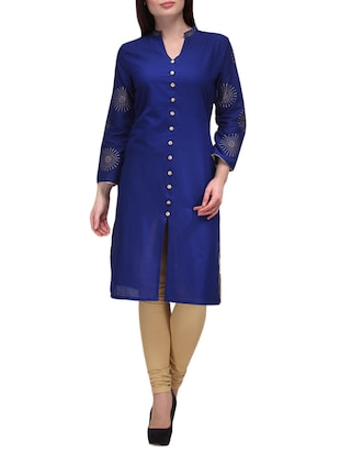 blue color cotton kurta
