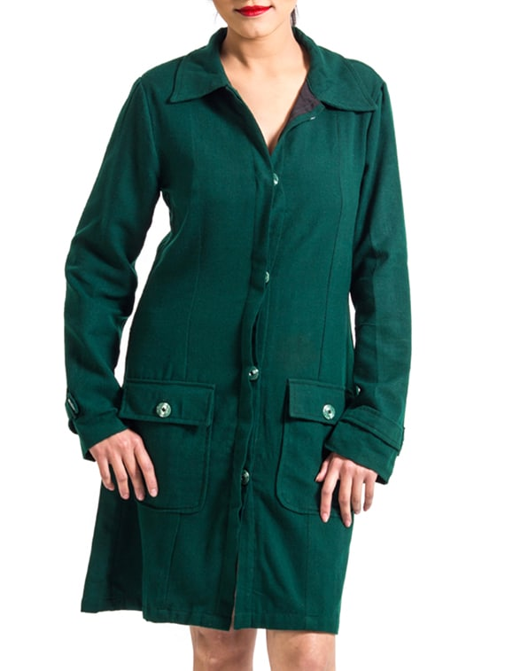 Green Cotton Winter Coat - By