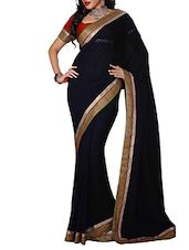 Black Chiffon Saree With Blouse Piece - By
