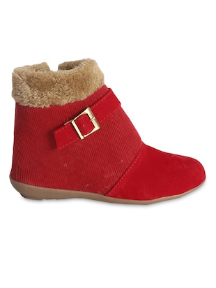 red Velvet ankle length boots
