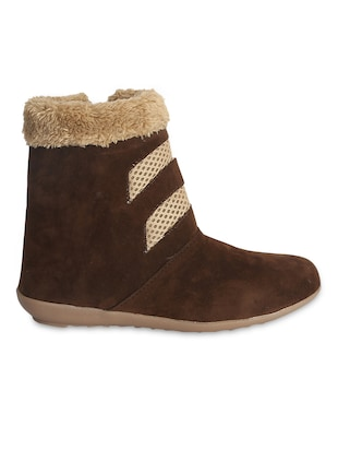 brown Velvet ankle length boots