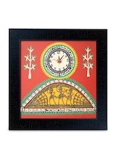 Warli Handpainted And Dhokra Work Clock 13*13 Inch - ExclusiveLane