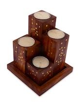 Sheesham Tea Light With Tray Set Of 4 - ExclusiveLane