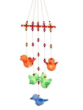 Terracotta Handpainted Flying Bird Hanging Multicolor - ExclusiveLane