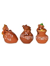 Terracotta Handpainted Baby Ganesha set of 3 -  online shopping for Figurines