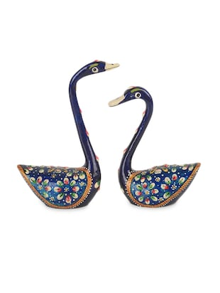 Meenakari Royal Blue Swan Set Handenamelled In Metal