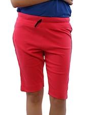 Pink Cotton Blend Knee Length Shorts - Lango