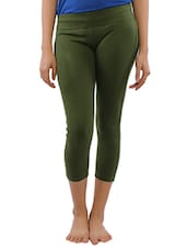 Green Cotton Blend Capri - Lango