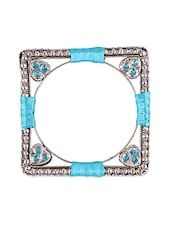 Square Thread Wrapped Stone Embellished Bangle Set - Mesmerizink