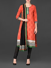 Leaf Printed Embroidered Border Unstitched Suit Set - Span