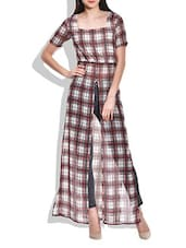 Multicoloured Check Print Front Open Dress - By
