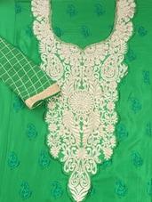 Green Cotton Unstitched Suit Set - Inddus
