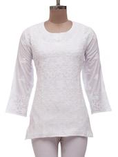 White Cotton Chikankari Short Kurti - Ada - 985159