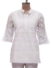 White Cotton Chikankari Short Kurti - Ada - 985161