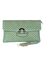 Green Leatherette Textured Clutch - Daphne