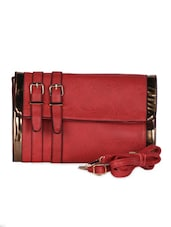 Red Leatherette Clutch - Daphne