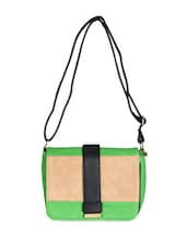 Green Leatherette Colour Block Sling Bag - Daphne