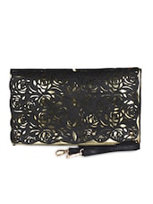 Black & Gold Leatherette Cut Work Clutch - Daphne