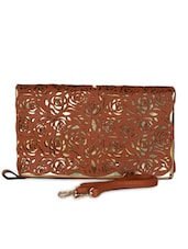 Brown & Gold Leatherette Cut Work Clutch - Daphne