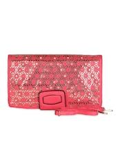 Pink Leatherette Floral Cut Work Clutch - Daphne