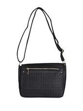 Black Leatherette Cut Work Clutch - Daphne