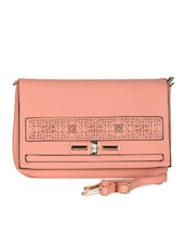 Pink Leatherette Cut Work Clutch - Daphne