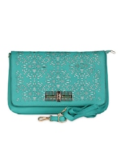 Green Leatherette Cut Work Clutch - Daphne