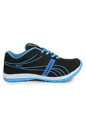 Blue, Black Synthetic Sports Shoe - By
