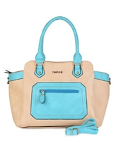 Beige & Blue Colour Block Leatherette Handbag - Daphne