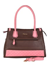 Brown & Pink Textured Leatherette Handbag - Daphne
