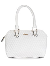 White Leatherette Geometric Pattern Textured Handbag - Daphne