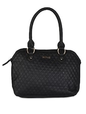 Black Leatherette Geometric Pattern Textured Handbag - Daphne