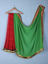 Green & Red Georgette Printed Saree - Inddus