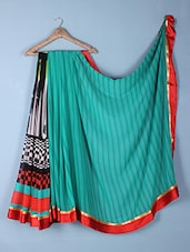 Multicolour Stripes & Checks Printed Georgette Saree - Inddus