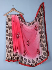 Pink Printed & Embroidered Georgette Saree - Inddus