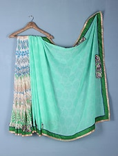 Green Printed & Embroidered Georgette Saree - Inddus