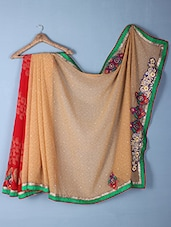 Red & Beige Printed & Embroidered Georgette Saree - Inddus