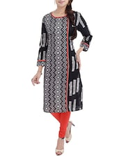 Black  Printed Round Neck Cotton Kurta - By