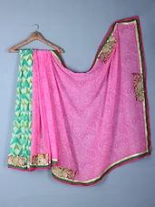 Multicoloured Printed & Embroidered Georgette Saree - Inddus