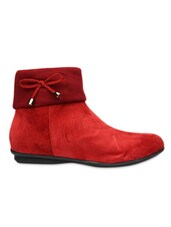 Red Ankle Length Boot With Lace Bow - Bruno Manetti