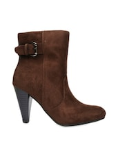 Brown High Ankle & Heeled Boots With Zipper - Bruno Manetti