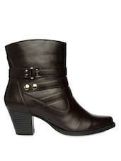 Brown High Ankle Heeled Boots With Zipper - Bruno Manetti