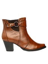 Brown Ankle Length Boots With Zipper - Bruno Manetti