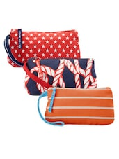 Rope And Star Print Patterned Cotton Canvas Wristlet Set - Be... For Bag