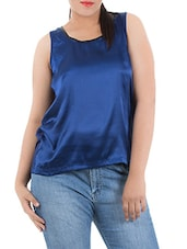 Blue Viscose Satin Tank Top - LastInch