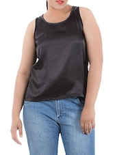 Black Viscose Satin Tank Top - LastInch