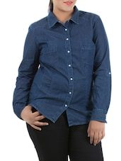 Dark Blue Full Sleeve Denim Shirt - LastInch