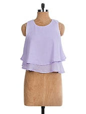 Lilac Loose Fitted Double Layered Chiffon Top - The Style Aisle