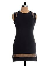 Stylish Black Poly Cotton  Sleeveless Short Dress - The Style Aisle