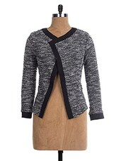 Grey & Black Mélange' Knitted Jacket - The Style Aisle